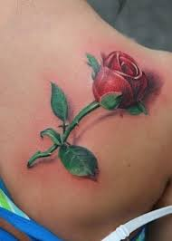 3d rose bud tattoo on right back shoulder