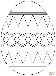 easter egg with abstract pattern coloring page free printable