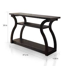 sewing tables by sara furniture of america sara black 2 shelf modern console table free