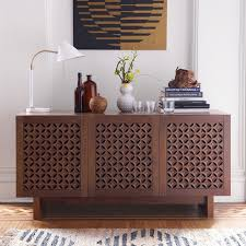 Media Console With Hutch Carved Wood Media Console 59 25