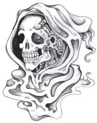 drawn grim reaper skull pencil and in color drawn grim reaper skull