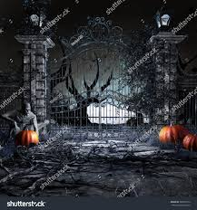 halloween pumpkin head jack lantern with burning candles over black background horror scenery zombie pumpkins old garden stock illustration