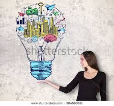 attractive woman colorful light bulb sketch stock photo 530295622