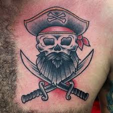 traditional pirate skull with two crossing swords on chest
