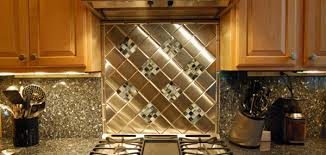 U Shape Kitchen Decoration Using Silver Metal Kitchen Backsplash - Metal backsplash