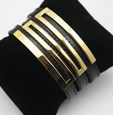 black leather bracelet with gold images Vintage black and gold metal leather bracelets punk wide cuff jpg