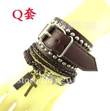 leather bracelet sets images Free shipping new fashion leather rope bracelet set clinches cross jpg