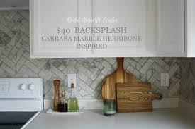 Carrara Marble Herringbone Inspired Backsplash Tutorial - Peel and stick vinyl backsplash