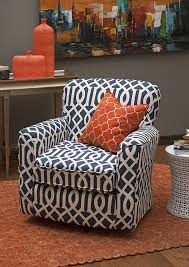 Swivel Chairs Living Room Upholstered by Lucia Navy Geometric Swivel Chair Made In The Usa The Lucia