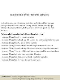 Resume For Detention Officer Top8billingofficerresumesamples 150514083342 Lva1 App6891 Thumbnail 4 Jpg Cb U003d1431592473