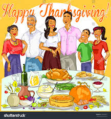 thanksgiving family pictures happy family celebrating thanksgiving day stock vector 157898837