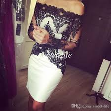 2016 white and black cocktail dresses sheath off the shoulder