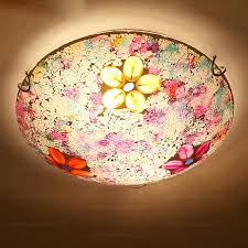 Stained Glass Ceiling Light Colorful Stained Glass Flush Mount Ceiling Light For Bedroom