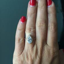 conflict free engagement rings pear moissonite rustic engagement ring from melissatysondesigns