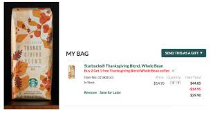 starbucks buy 2 get 1 free thanksgiving blend coffee bags