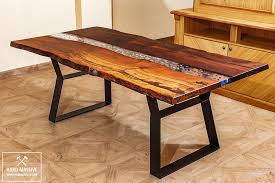 live edge river table epoxy river table with stones unique dining table table wood metal