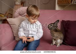 easter plays child plays easter bunny rabbit easter stock photo 1039605631