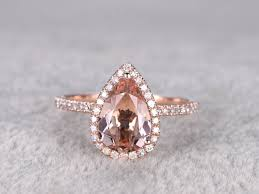 gold and morganite ring 2 carat pear shaped morganite engagement ring diamond promise ring