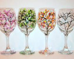 4 seasons painted wine glasses set of 4 20 oz