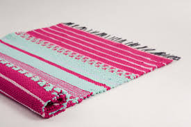 Woven Rugs Cotton Fuchsia Pink Mint Woven Rug Cotton Rug Rag By Hermantextiles