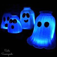 diy glass light shade cover ghosts as halloween lanterns