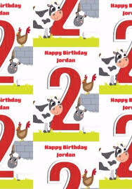 cow wrapping paper kids farm pig cow sheep hen photo