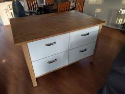 ikea kitchen island with deep drawers and maple top saanich victoria