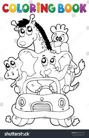 coloring book animals car eps10 vector stock vector 557210329