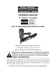 Central Pneumatic Framing Nail Gun by Harbor Freight Tools Model 97511 User Manual 12 Pages Also For