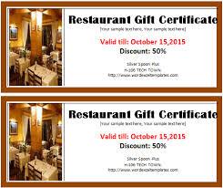 restaurant gift certificate template word u0026 excel templates