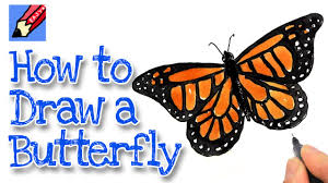 how to draw a monarch butterfly real easy youtube