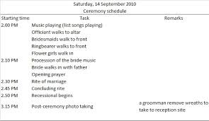 wedding reception program wedding day timeline sle and template budget brides guide