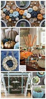 modern blue pumpkin thanksgiving decor ideas in light blue and