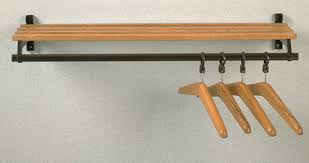 folding wall mounted wooden coat rack with hanger bar and shelf