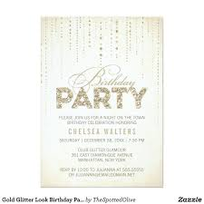 Gold Invitation Card Gold Glitter Look Birthday Party Card Gold Glitter And Birthdays