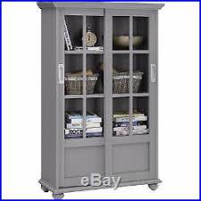 Sliding Door Bookcase Tall 51display Storage Cabinet 4 Shelf Bookcase 2 Sliding Glass