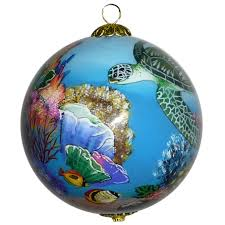 coral world with sea turtles hawaiian ornament by design