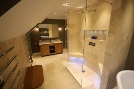 luxury attic bathroom stone u0026 chrome