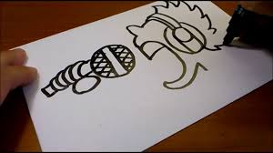 very easy how to turn words sing into a cartoon art on paper for