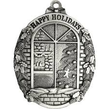 Window Scene Pewter Christmas Ornament