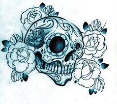 mexican sugar skull tattoo drawing with sketched roses tattoomagz