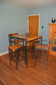 Industrial Bistro Table Vintage Metal Kitchen Tables And Chairs Iron Wood Industrial