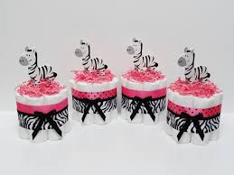 four pink zebra mini diaper cake baby by lanasdiapercakeshop