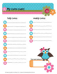 6 best images of owl template printable chore chart printable