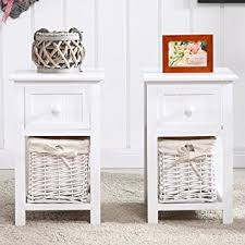 white end table with storage uenjoy pair of retro chic nightstand end side bedside table w wicker