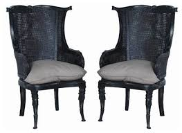 Accent Wingback Chairs Set Of 2 Caned Wing Back Chairs By Guildmaster Beach Style