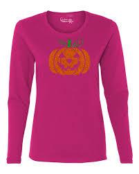 Tee Shirt Halloween Costumes Glitter Jack O U0027 Lantern Pumpkin Halloween Costume Womens Long