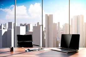 arriere plan du bureau lieu de travail du bureau 3d avec l horizon à l arrière plan