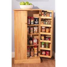 tall wood storage cabinets with doors and shelves kitchen food
