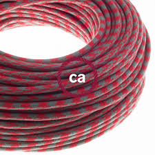 electric cable covered in cotton bicoloured fire red and grey rp28